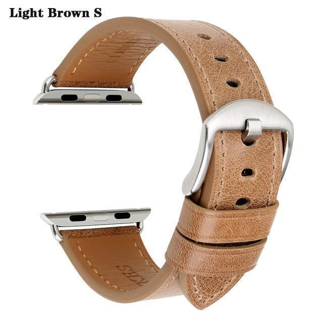 Apple Light Brown S / For Apple Watch 38mm Watch Accessories Genuine Leather For Apple Watch Band 44mm 40mm & Apple Watch Bands 42mm 38mm Series 4 3 2 1 Watch Strap