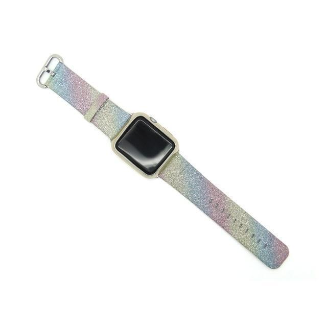 Apple Mix / 38mm/40mm Leopard Rainbow Bling Glitter Leather Band for Apple Watch Series 1 2 3 Strap 42mm 38mm Bracelet for iWatch Wristband
