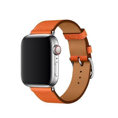 Apple Orange / 38mm Apple Watch Series 5 4 3 2 Band, Leather Single Tour Strap, Bracelet iWatch 38mm, 40mm, 42mm, 44mm - US Fast Shipping