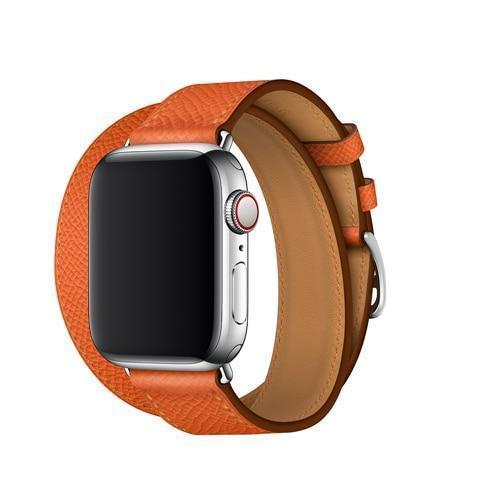 Apple Orange / 38mm Leather strap For apple watch band 42mm 38mm iWatch band 44mm 40mm Double Tour bracelet watchband Apple watch 4 3 21 Accessories ( US Fast Shipping)