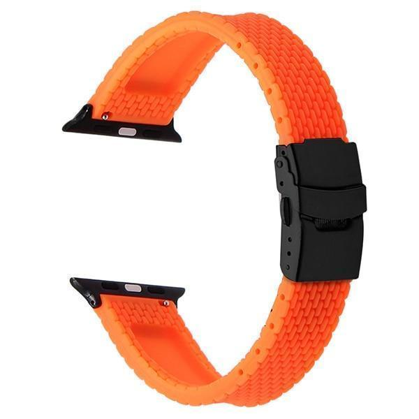 Apple Orange B / 38mm Silicone Rubber Watchband for iWatch Apple Watch 38mm 40mm 42mm 44mm Band Series 5 4 3 2 1 Steel Safety Clasp Strap Bracelet
