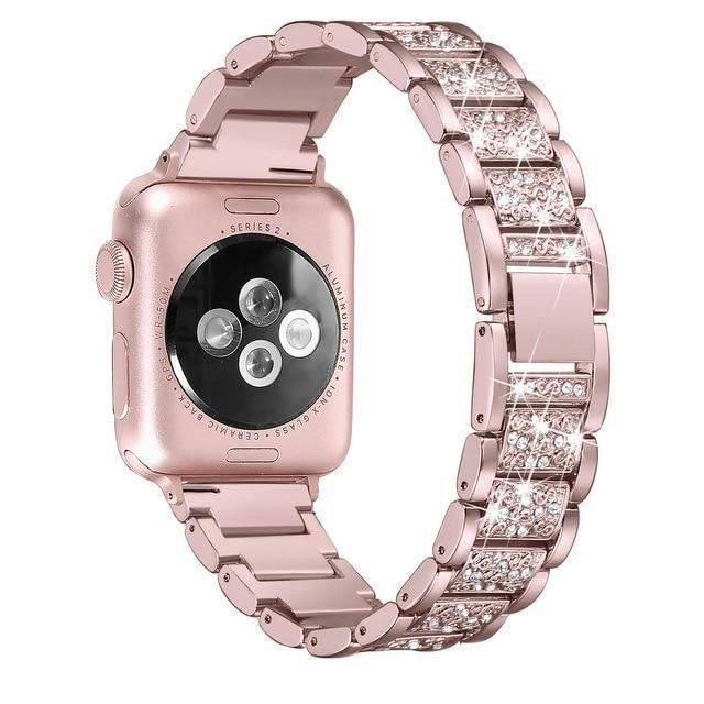 Apple pink / 38mm/40mm Apple Watch bling band, women Diamond rhinestone stainless steel strap bracelet, iWatch series 5 4 3 , 40mm 44mm 38mm 42mm