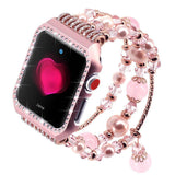 Apple Pink / 38mm / 40mm Apple Watch Series 5 4 3 2 Band, Agate Wrist Belt Metal Case Luxury Accessories for Women 38mm, 40mm, 42mm, 44mm
