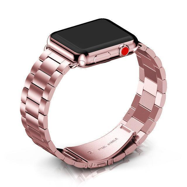 Apple Pink / 38mm / 40mm Apple Watch Series 5 4 3 2 Band, Matte flat link sport strand Stainless Steel Strap 44mm, 40mm, 42mm, 38mm Metal Links Bracelet Smart Watch