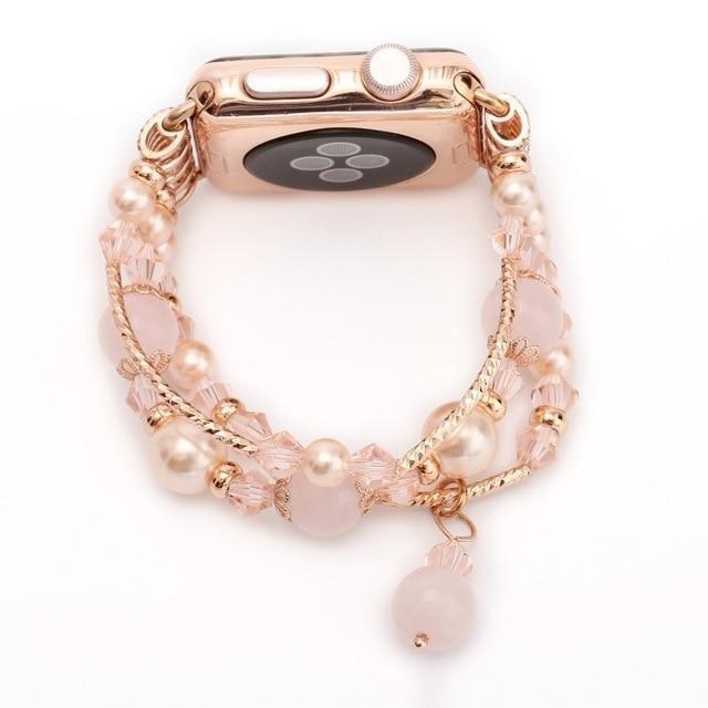 Apple Pink / 38mm / 40mm Apple Watch Series 5 4 3  Band, Agate Beads Pearl Bracelet stretch Strap, iWatch Women Watchband Adapters 38mm, 40mm, 42mm, 44mm