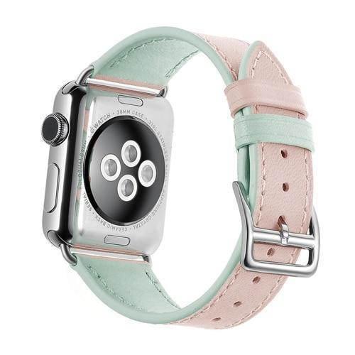 Apple pink / 38mm/40mm Faux Leather bracelet strap for apple watch band 42mm 38mm 4 44mm 40mm double colors correa watchband for iwatch belt 3/2/1 US fast shipping