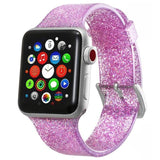 Apple pink / 38mm/40mm Sport Soft glitter Silicone Strap For Apple Watch Series 4 3 2 1 44mm 40mm 42mm 38mm Band Replacement Strap Wristband For iWatch Band - US Fast shipping