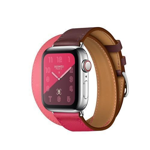 Apple pink / 38mm Leather strap For apple watch band 42mm 38mm iWatch band 44mm 40mm Double Tour bracelet watchband Apple watch 4 3 21 Accessories ( US Fast Shipping)