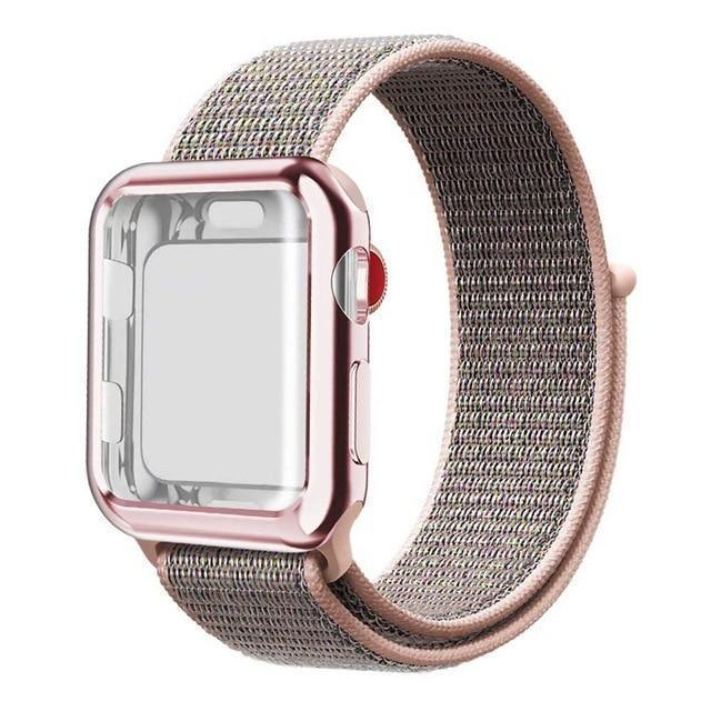 Apple pink / 38mm Nylon Sport Loop band with case For Apple Watch 38mm 42mm 40mm 44mm screen protector iWatch series 4 3 2 1 sport bracelet strap