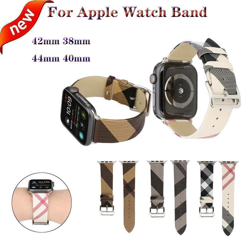 Apple Plaid Pattern Leather Bracelet strap For Apple Watch band 4 44/40mm women/men watches wristband For iwatch series 3 2 1 42/38mm