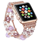 Apple Purple / 38mm / 40mm Apple Watch Series 5 4 3  Band, Agate Beads Pearl Bracelet stretch Strap, iWatch Women Watchband Adapters 38mm, 40mm, 42mm, 44mm