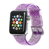 Apple purple / 38mm/40mm Sport Soft glitter Silicone Strap For Apple Watch Series 4 3 2 1 44mm 40mm 42mm 38mm Band Replacement Strap Wristband For iWatch Band - US Fast shipping