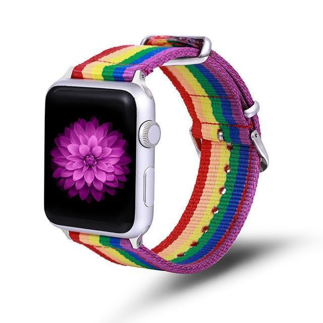 Apple Rainbow / 42mm / 44mm Apple Watch Series 5 4 3 2 Band, Nylon Rainbow Sport Smart Watch Strap 38mm, 40mm, 42mm, 44mm