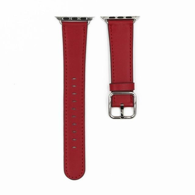 Apple Red / 38mm / 40mm Apple Watch Series 5 4 3 2 Band, Classic Buckle Band for iWatch Calf Leather With Square Buckle Modern Design 38mm, 40mm, 42mm, 44mm