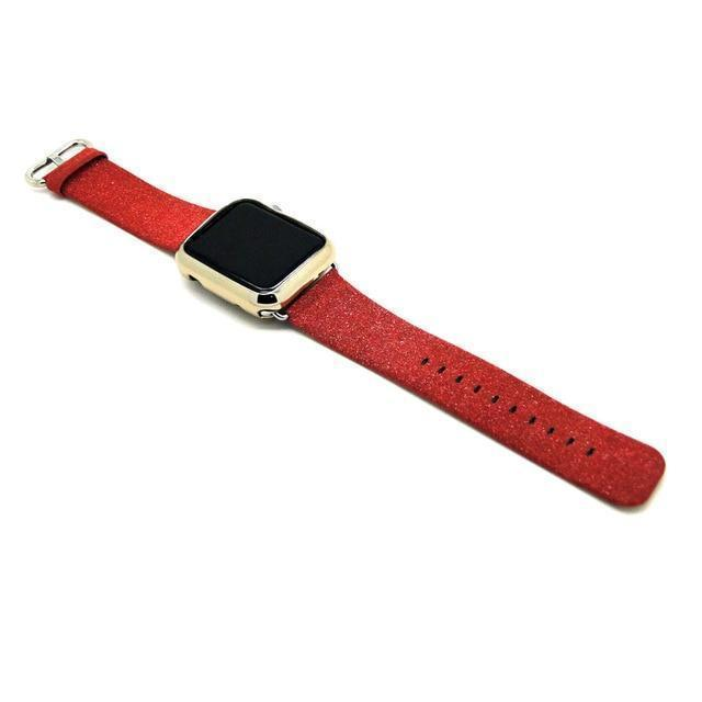 Apple Red / 38mm/40mm Leopard Rainbow Bling Glitter Leather Band for Apple Watch Series 1 2 3 Strap 42mm 38mm Bracelet for iWatch Wristband