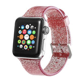 Apple red / 38mm/40mm Sport Soft glitter Silicone Strap For Apple Watch Series 4 3 2 1 44mm 40mm 42mm 38mm Band Replacement Strap Wristband For iWatch Band - US Fast shipping