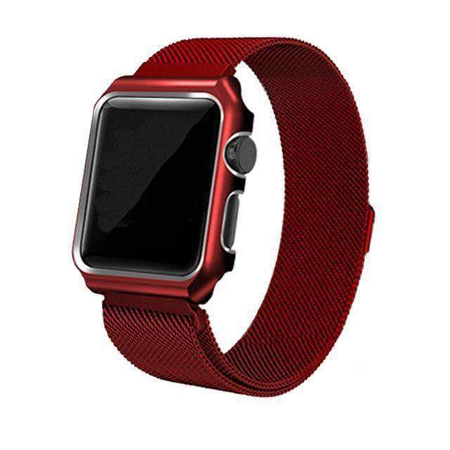 Apple red / 38mm band case Apple Watch band Milanese mesh magnetic Loop stainless steel metal Strap & Watch Case bundle  42mm 44mm iwatch 4/3/2/1 38mm 40 mm Bracelet Watchband - USA Fast Shipping