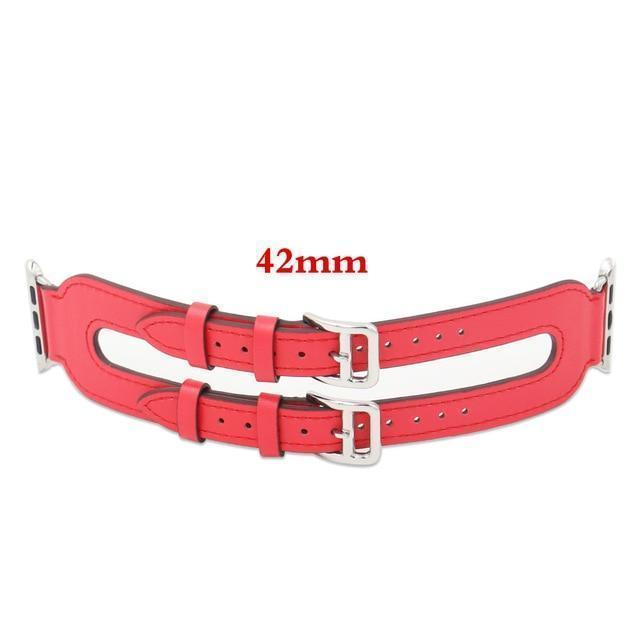 Apple Red / 42mm/44mm Genuine Leather strap For Apple Watch 3/2/1 38mm 42mm ( US Fast Shipping)