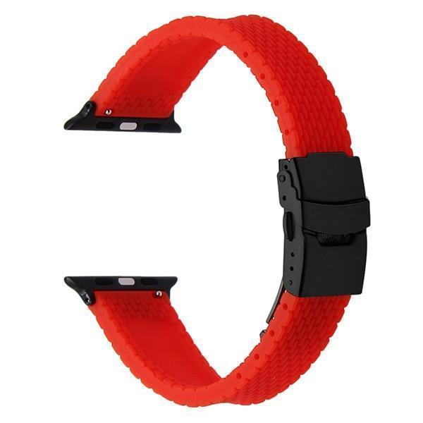 Apple Red B / 38mm Silicone Rubber Watchband for iWatch Apple Watch 38mm 40mm 42mm 44mm Band Series 5 4 3 2 1 Steel Safety Clasp Strap Bracelet