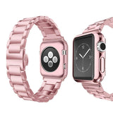 Apple rose / 38mm Apple Watch Series 5 4 3 2 Band, Luxury case bundle set, Stainless Steel strap bracelet metal rolex link watchband, 38mm, 40mm, 42mm, 44mm