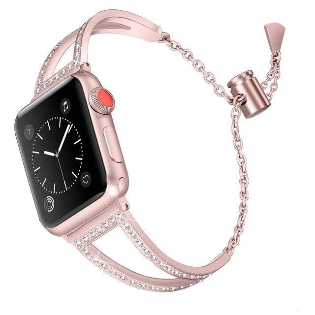 Apple Rose / 38mm Apple Watch Series 5 4 3 2 Band, New Diamond Watch Bands, Stainless Steel Strap Women Bracelet 38mm, 40mm, 42mm, 44mm - US Fast Shipping