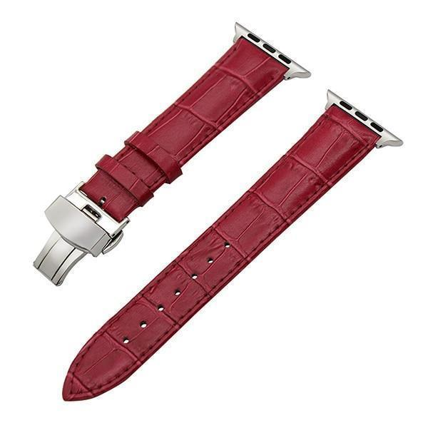 Apple Rose / 38mm Faux Leather Watchband for 38mm 40mm 42mm 44mm iWatch Apple Watch Series 4 3 2 1 Band Butterfly Buckle Strap Bracelet