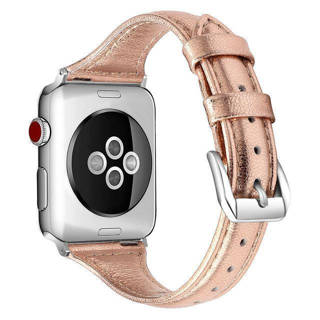 Apple rose gold / 38-mm Band for Apple Watch Leather Bnad 38mm 42mm 40mm 44mm Rose Gold Silver Strap For Apple Watch Bracelet Series 4 3 2 1 For Women