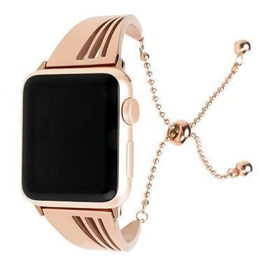 Apple Rose gold / 38mm/40mm Apple Watch band cuff, Stainless Steel strap, Fits Series 1 2 3 4 5 44mm, 40mm, 42mm, 38mm Luxury iwatch Bracelet