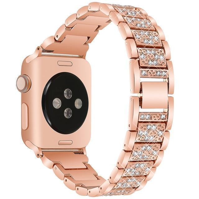 Apple rose gold / 38mm/40mm Apple Watch bling band, women Diamond rhinestone stainless steel strap bracelet, iWatch series 5 4 3 , 40mm 44mm 38mm 42mm