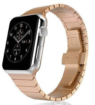 Apple Rose Gold / 38mm / 40mm Apple Watch Series 5 4 3 2 Band, Luxury Stainless Steel Link Bracelet Minimal band with adapters 38mm, 40mm, 42mm, 44mm - US Fast Shipping