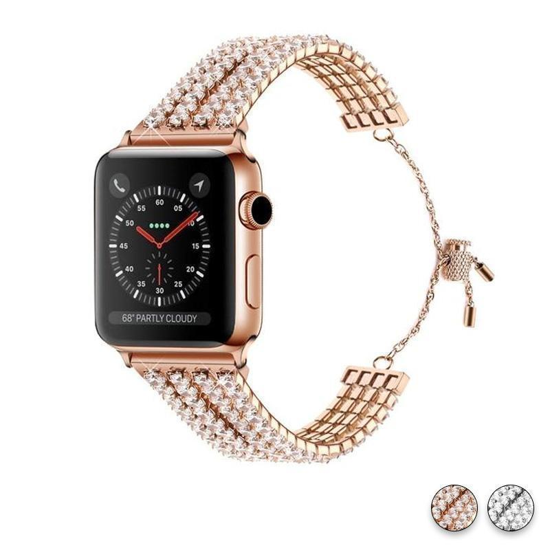 Apple Rose Gold / 38mm / 40mm Apple Watch Series 5 4 3  Band, Luxury Bling Cuff Diamond iwatch Strap For Women 38mm, 40mm, 42mm, 44mm