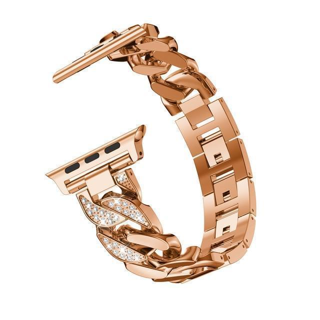 Apple Rose gold / 38mm Apple Watch Series 5 4 3 2 Band, Women Ladies Watch Bracelet, Fashionable Diamond Cowboy Chains Strap Metal Link 38mm, 40mm, 42mm, 44mm