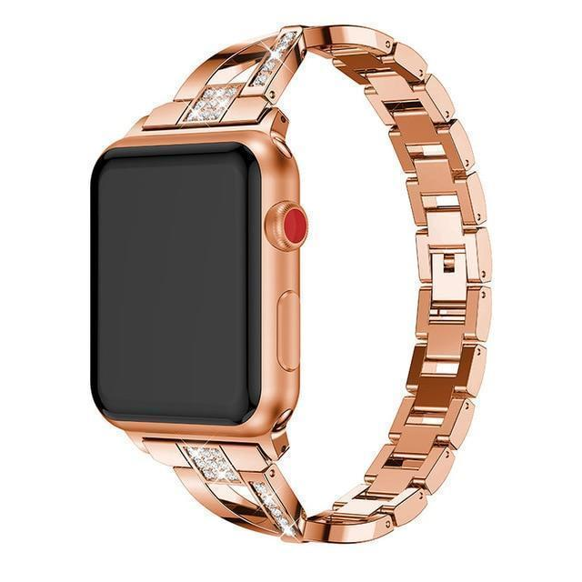 Apple rose gold / 38mm or 40mm For Apple Watch band 40mm 44mm 38mm 42mm women Diamond Band for iWatch series 4 3 2 1  bracelet stainless steel strap Wristband