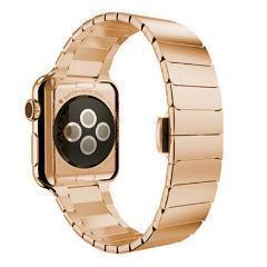 Apple Rose Gold / 42mm / 44mm Apple Watch Series 5 4 3 2 Band, Luxury Stainless Steel Link Bracelet Minimal band with adapters 38mm, 40mm, 42mm, 44mm - US Fast Shipping