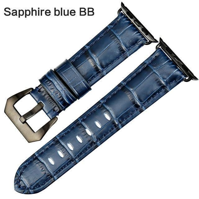 Apple Sapphire blue BB / For Apple Watch 38mm Watchbands genuine cow leather watch strap for Apple Watch Band 42mm 38mm series 4 1 iwatch 4 44mm 40mm  watch bracelet
