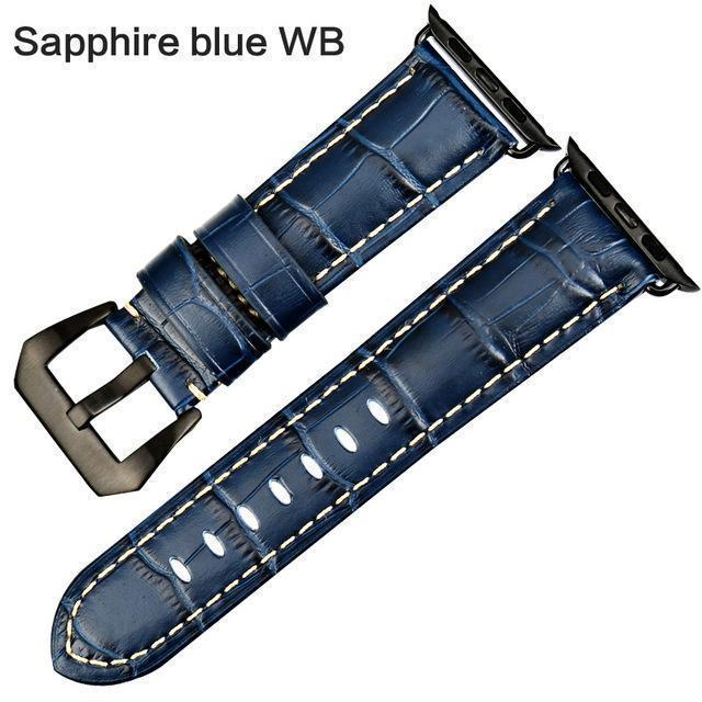 Apple Sapphire blue WB / For Apple Watch 38mm Watchbands genuine cow leather watch strap for Apple Watch Band 42mm 38mm series 4 1 iwatch 4 44mm 40mm  watch bracelet