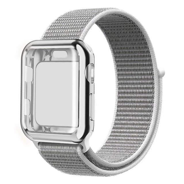 Apple Seashell / 38mm Nylon Sport Loop band with case For Apple Watch 38mm 42mm 40mm 44mm screen protector iWatch series 4 3 2 1 sport bracelet strap