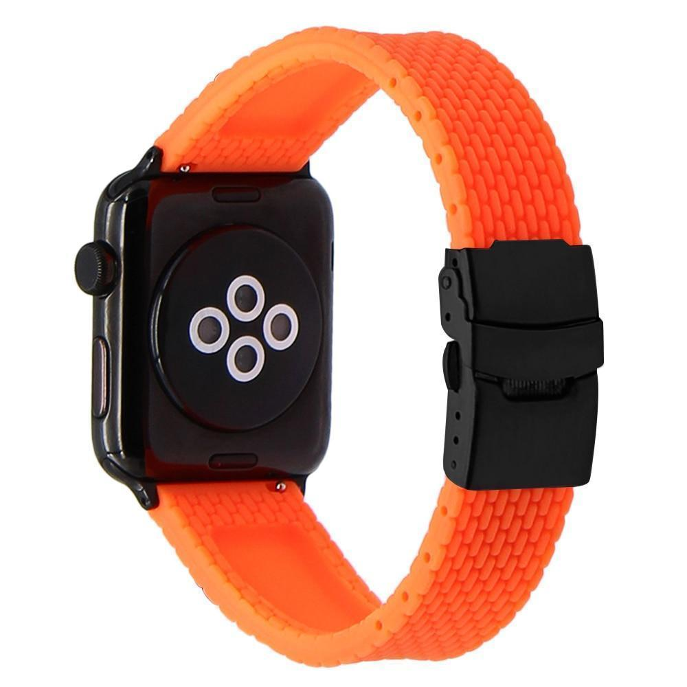Apple Silicone Rubber Watchband for iWatch Apple Watch 38mm 40mm 42mm 44mm Band Series 5 4 3 2 1 Steel Safety Clasp Strap Bracelet
