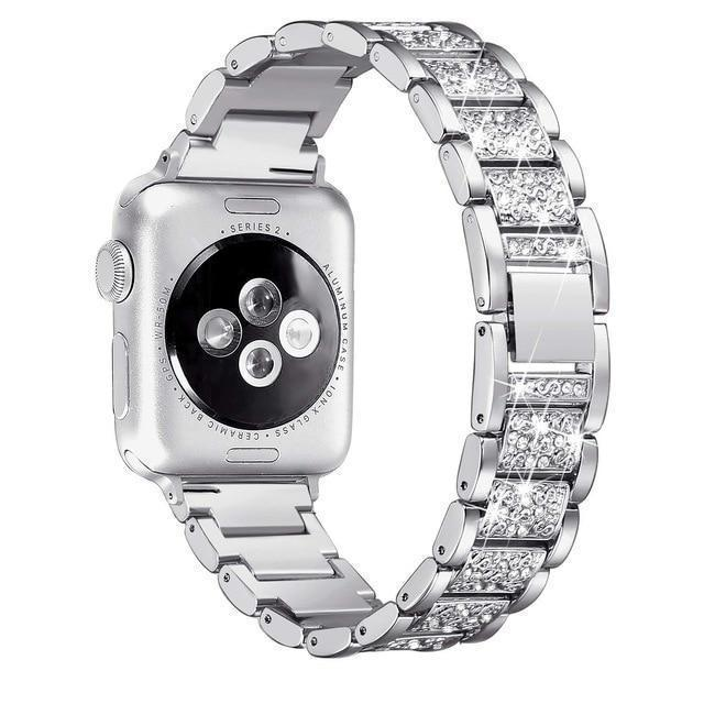 Apple silver / 38mm/40mm Apple Watch bling band, women Diamond rhinestone stainless steel strap bracelet, iWatch series 5 4 3 , 40mm 44mm 38mm 42mm