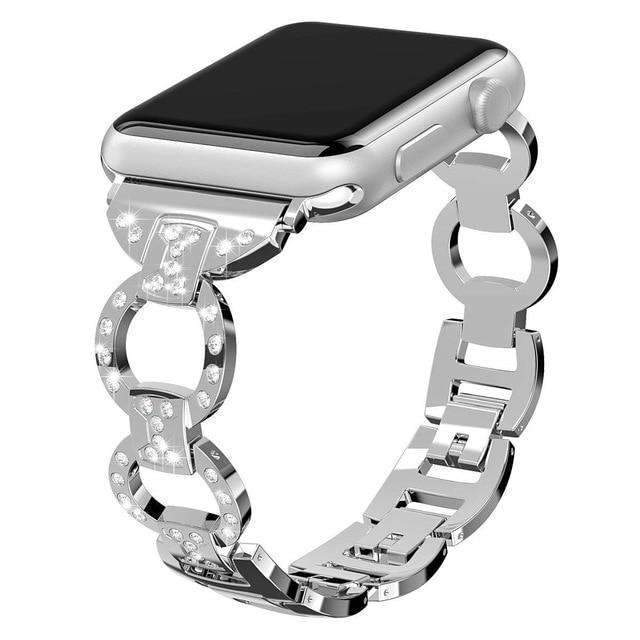 Apple Silver / 38mm/40mm Apple Watch bling diamond band, 38mm 40mm 42mm 44mm, Luxury Stainless Steel Link Strap For iWatch Series 3 2 1 - US Fast shipping