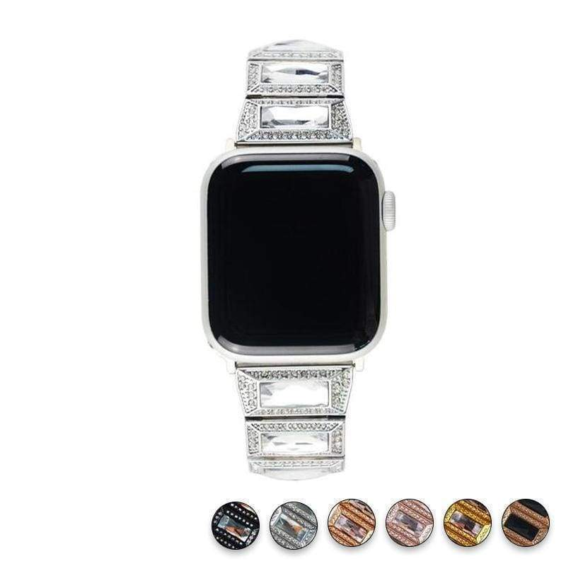 Apple Silver / 38mm / 40mm Apple Watch Series 5 4 3 2 Band, Luxury Diamond Bling for Women Butterfly Buckle Metal Strap 38mm, 40mm, 42mm, 44mm