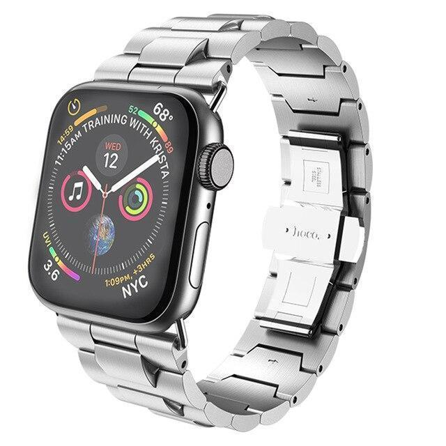 Apple Silver / 38mm Apple Watch Series 5 4 3 2 Band, Metal Band Stainless Steel Butterfly Buckle Strap  38mm, 40mm, 42mm, 44mm