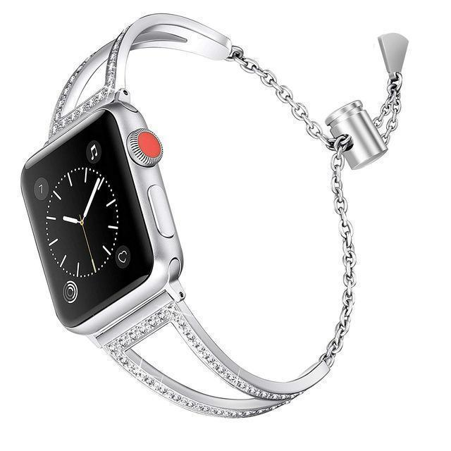 Apple silver / 38mm Apple Watch Series 5 4 3 2 Band, New Diamond Watch Bands, Stainless Steel Strap Women Bracelet 38mm, 40mm, 42mm, 44mm - US Fast Shipping