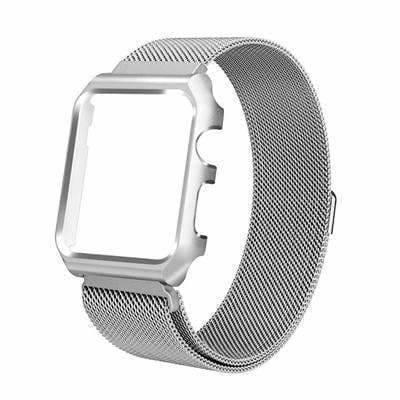 Apple silver / 38mm band case Apple Watch band Milanese mesh magnetic Loop stainless steel metal Strap & Watch Case bundle  42mm 44mm iwatch 4/3/2/1 38mm 40 mm Bracelet Watchband - USA Fast Shipping
