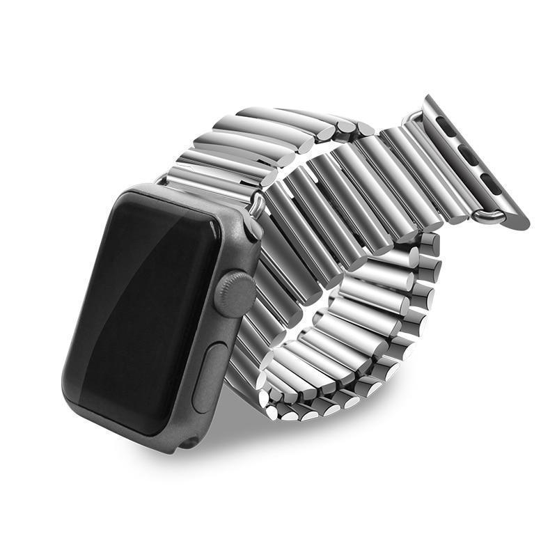 Apple Silver / 38mm Elastic Watchband Stainless Steel for Apple Watch 38mm 42mm iWatch 1/2/3/4 All Versions 40mm 44mm Metal Strap Strech Band Loop