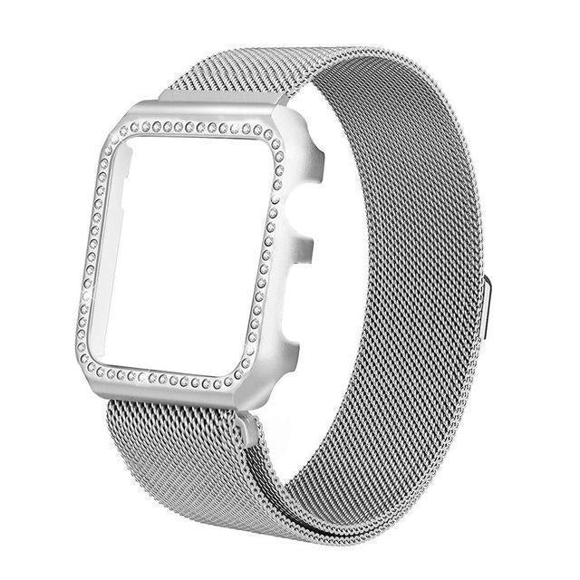 Apple silver / 38mm Strap & Diamond Case Apple Watch bundle 38mm 40mm 44mm 42mm Stainless Steel band Milanese Loop Bracelet for iWatch 4 3 2 1