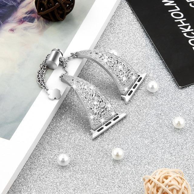 Apple silver / 38mm Women Diamond Band For Apple Watch Series 4 3 2 1 stainless steel strap for iWatch 38mm 42mm 40mm 44mm Bracelet Wristband