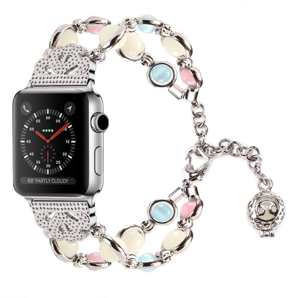 Apple Silver / 42mm / 44mm Apple Watch Series 5 4 3 2 Band, Beaded Luminous Glow in dark 38mm, 40mm, 42mm, 44mm - US Fast shipping