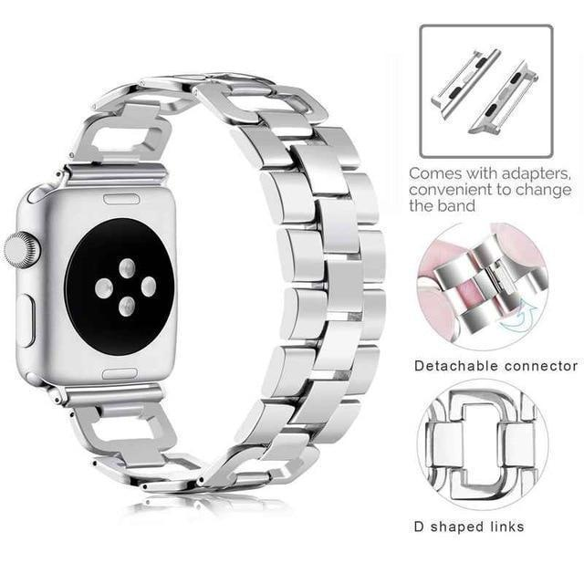 Apple Silver / For 38mm and 40mm Apple Watch Series 5 4 3 2 Band, Upgarded Strap Metal Replacement Wristband Sport Strap for Nike+ 38mm, 40mm, 42mm, 44mm