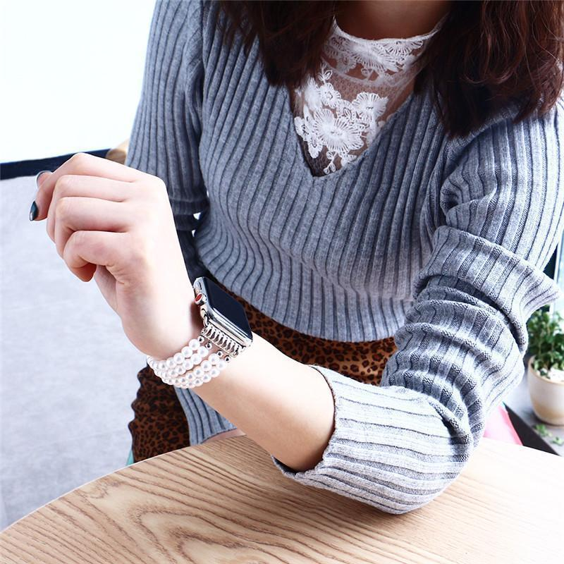Apple Simulated Pearls Apple Watch Strap 38mm/42mm Beads Watchband For iWatch Women Elastic Bracelet Wrist Band